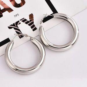 Big Silver Tone Hoop Earrings